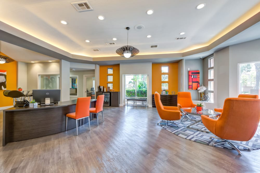 Stay connected in the community business center at Tuscany Village Apartments in Ontario, California
