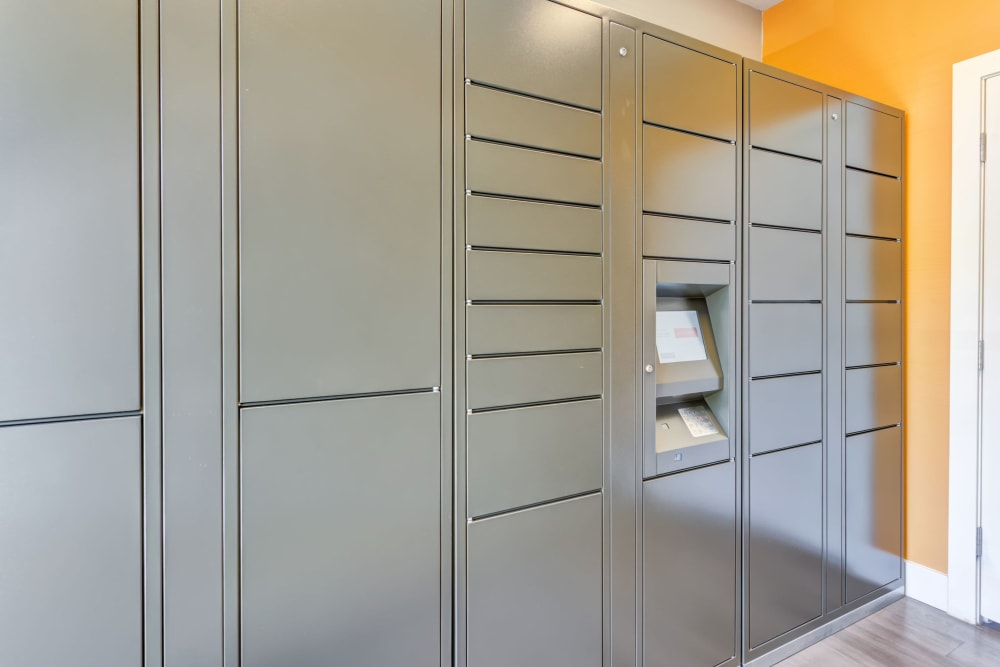 The convenient package lockers at Tuscany Village Apartments in Ontario, California