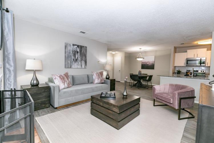 Living room at The Pointe at Preston Ridge in Alpharetta, Georgia