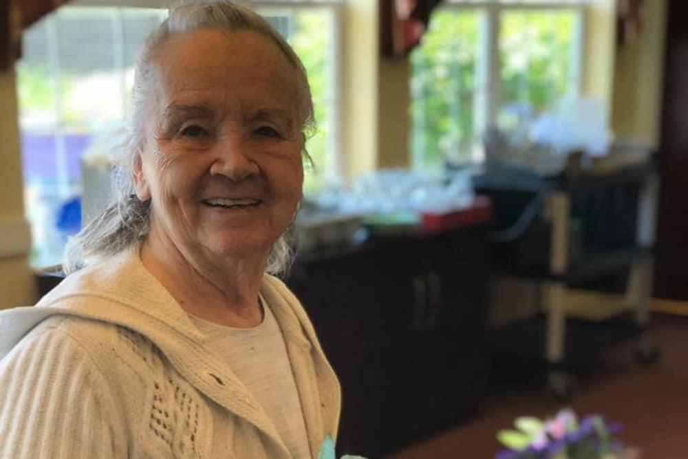 A happy resident at Blair Ridge Health Campus in Peru, Indiana