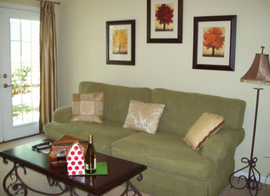 Living room in senior apartment at Sandpiper Village in Mt. Pleasant, South Carolina