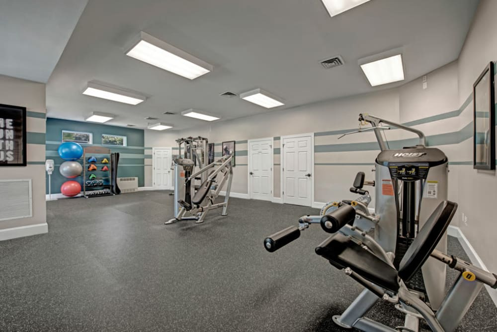 Fitness equipment is available for residents in the spacious fitness center at Howard Crossing in Ellicott City, Maryland