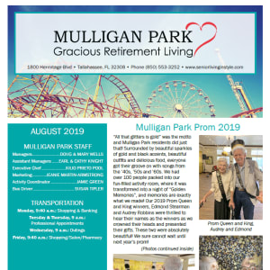 August Mulligan Park Gracious Retirement Living newsletter