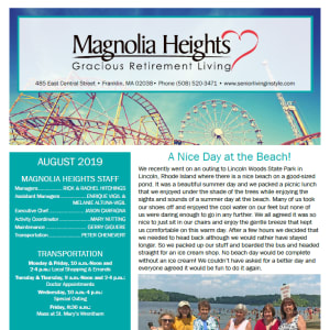 August Magnolia Heights Gracious Retirement Living newsletter