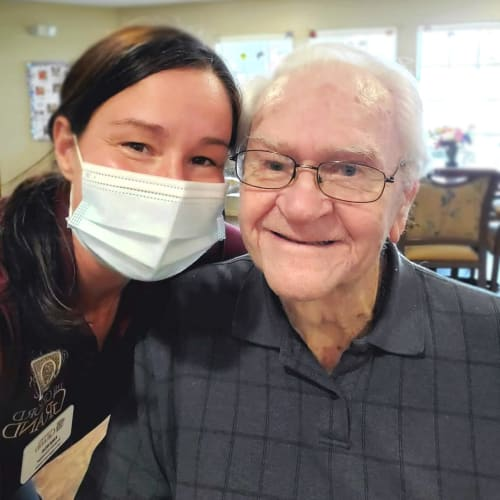 A caregiver and resident at The Oxford Grand Assisted Living & Memory Care in Kansas City, Missouri