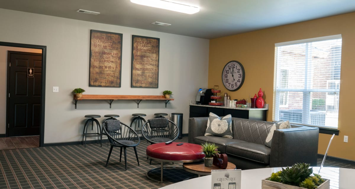 Beautiful clubhouse at apartments in Carrollton, Texas