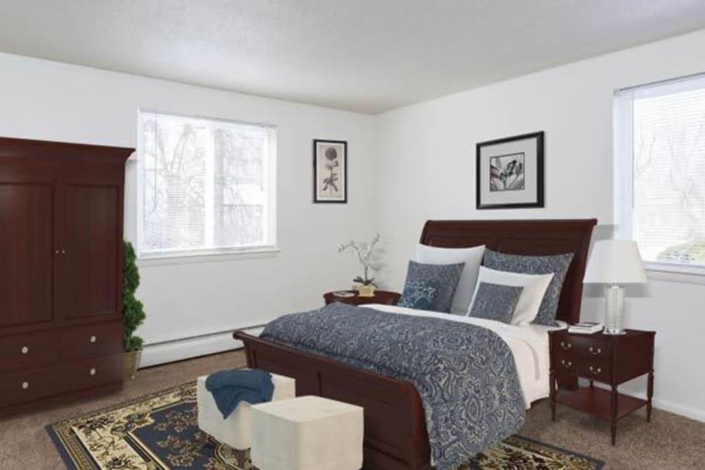 Luxury bedroom at Perinton Manor Apartments in Fairport