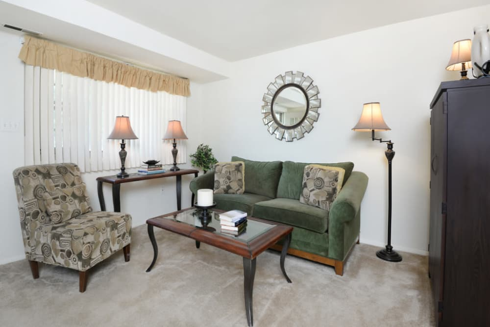 Living room layout at The Orchards at Severn in Severn, Maryland