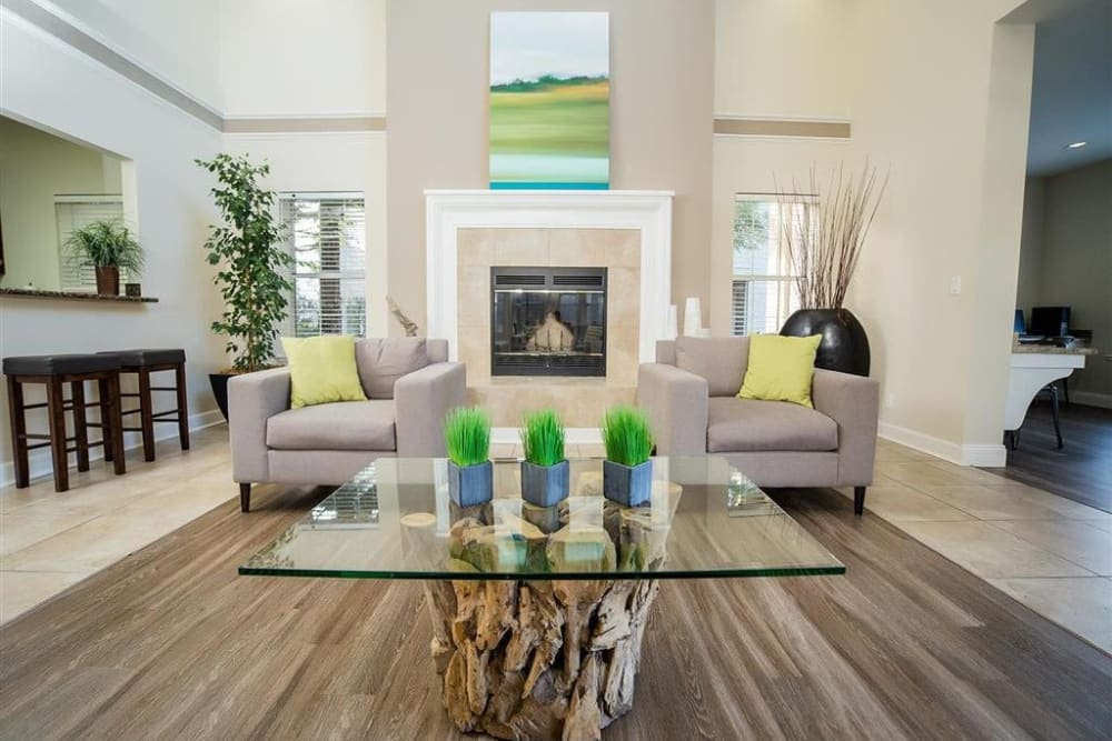 Resident lounge with a fireplace at Shaliko in Rocklin, California.