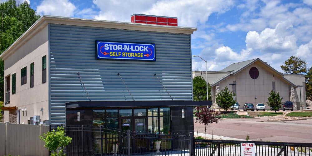 The front entrance to STOR-N-LOCK Self Storage in Colorado Springs, Colorado