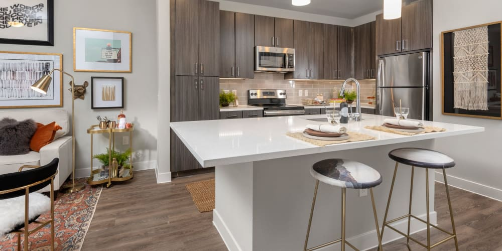 Large kitchen with dark cabinets and stainless steel appliances at Domain at Founders Parc in Euless, Texas