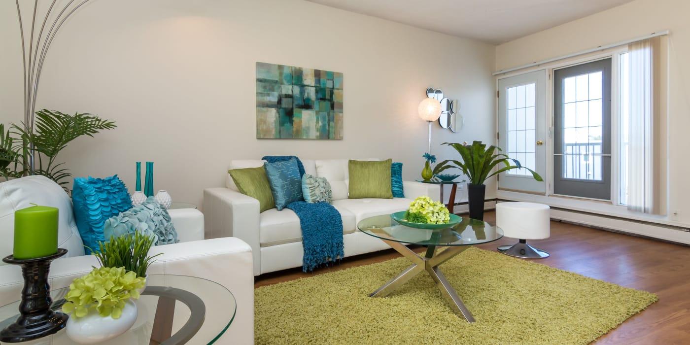 Modern living room at Glenmore Heights in Calgary, Alberta