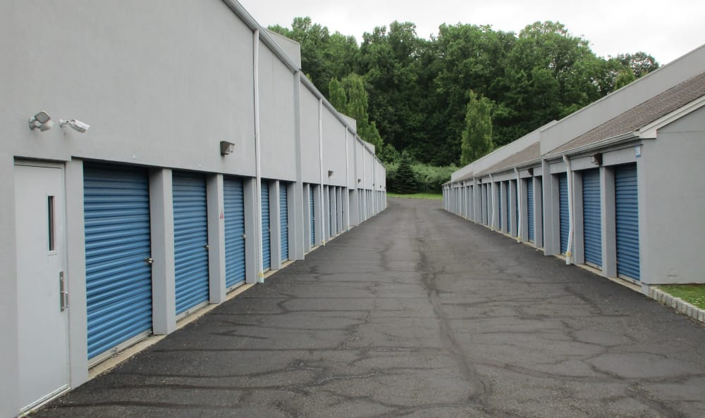 Outdoor storage units at Compass Self Storage in Asbury, NJ