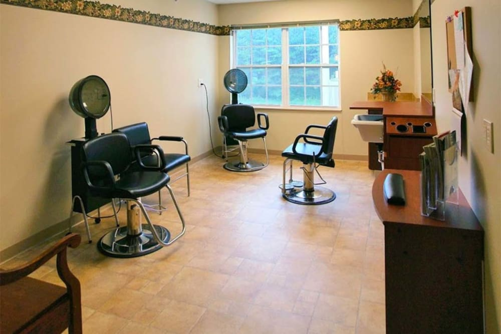 Hair salon for residents at Milestone Senior Living in Rhinelander, Wisconsin.