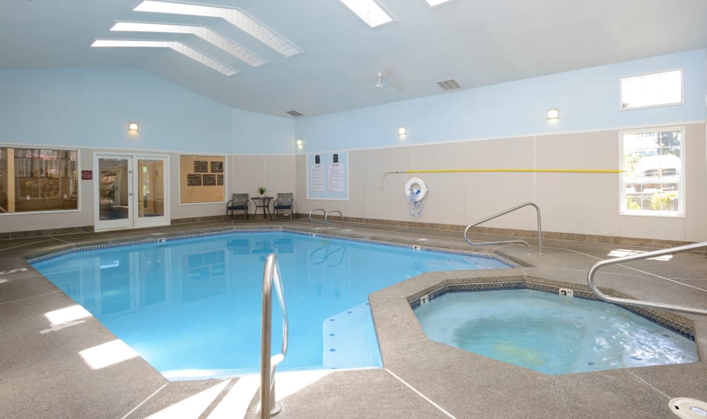 Enjoy the indoor pool at Discovery Landing Apartment Homes Burien, Washington