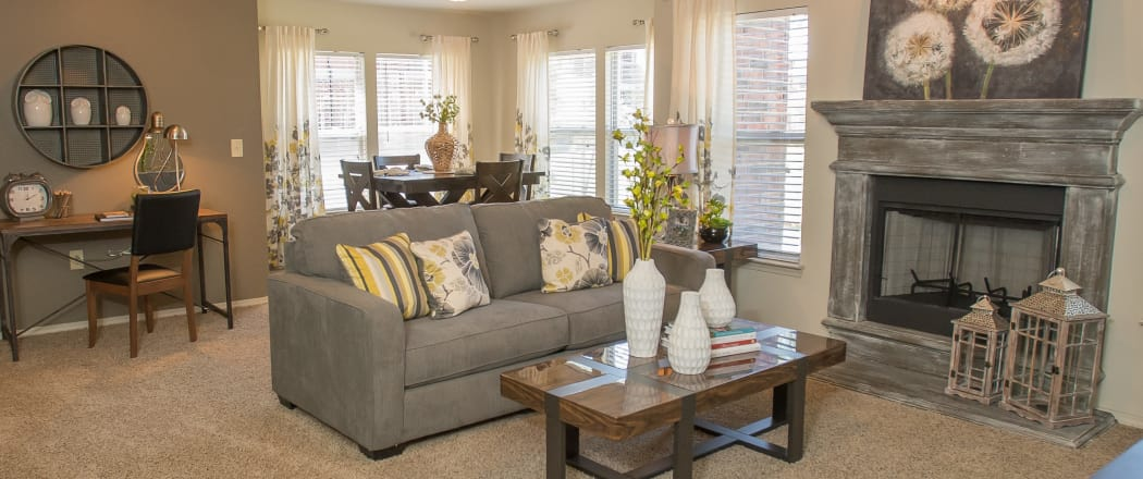 Spacious living room at The Reserve at Elm in Jenks, Oklahoma