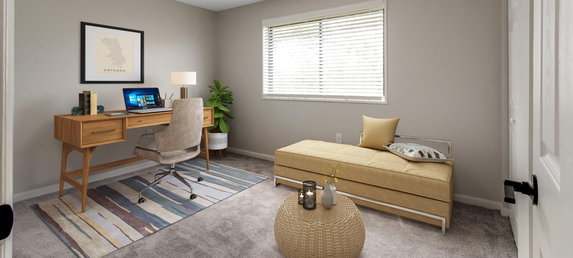 Model living room at Regency Pointe in Forestville, Maryland