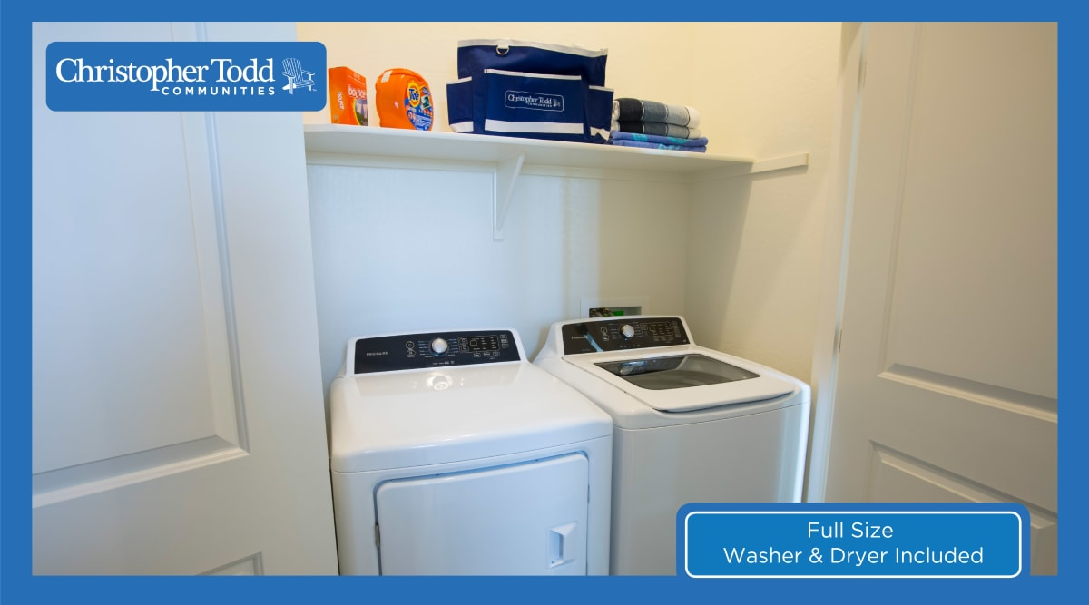 In-unit washer and dryer in a resident's home at Christopher Todd Communities On Camelback in Litchfield Park, Arizona