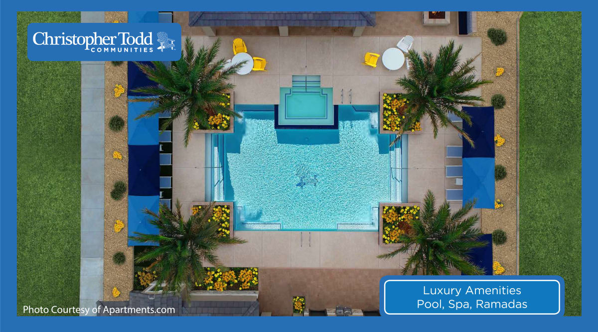 Aerial view of the pool area at Christopher Todd Communities On Camelback in Litchfield Park, Arizona
