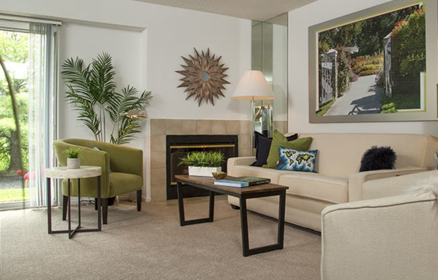 Model living room  at Briar Cove Terrace Apartments in Ann Arbor, MI