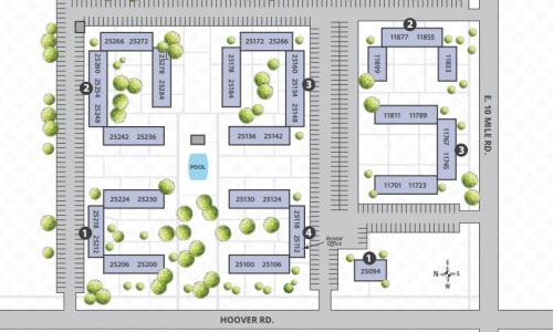 Printable site map image at Hoover Square Apartments in Warren, Michigan