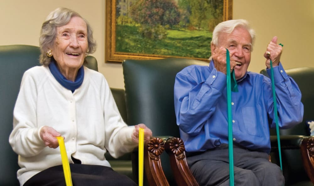 Residents having fun exercising at Wheelock Terrace in Hanover, New Hampshire