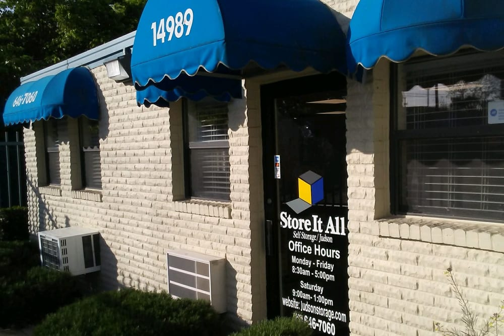 The front of the building at Store It All Self Storage - Judson in San Antonio, Texas