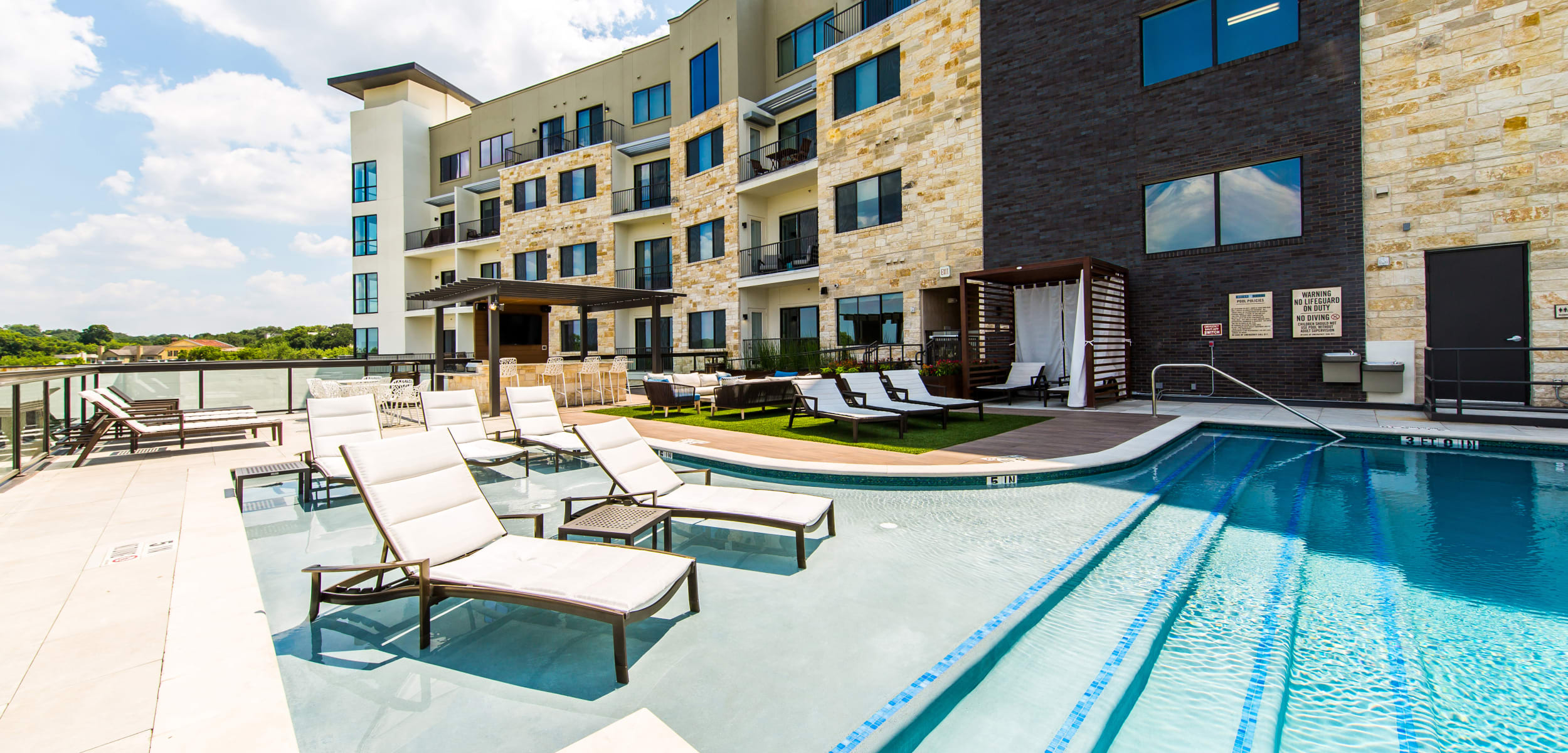 Sparkling swimming pool at Water Marq in Austin, Texas