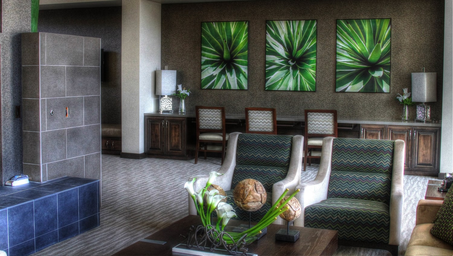 Modern decor in the clubhouse at Redstone at SanTan Village in Gilbert, Arizona