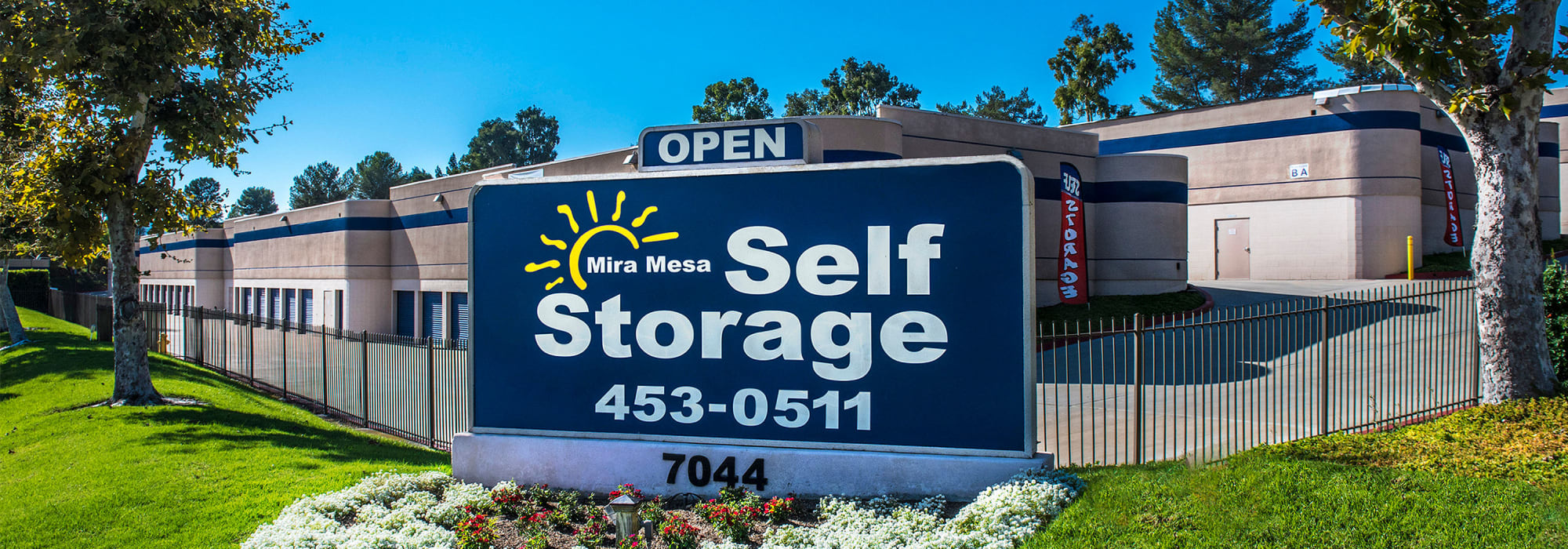 Branding on the exterior of Mira Mesa Self Storage in San Diego, California