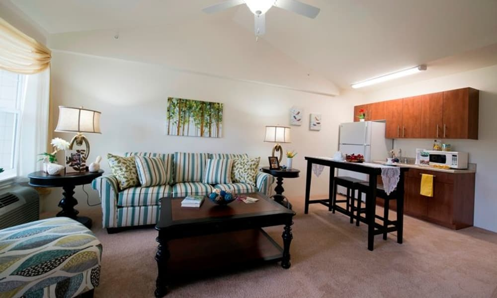 An apartment living room and kitchen at The Palms at Bonaventure Assisted Living and Memory Care in Ventura, California