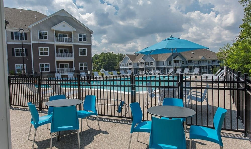 Gated swimming pool at Waters Edge Apartments in Webster, New York