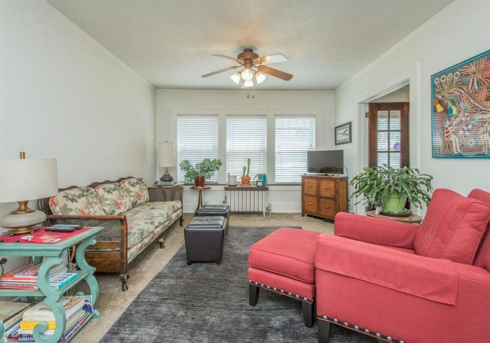 Open living room layout at Alta Casa in Des Moines, Iowa