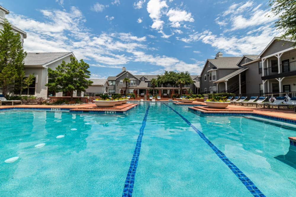 Olympic size swimming pool at Marquis at Lantana in Flower Mound, Texas