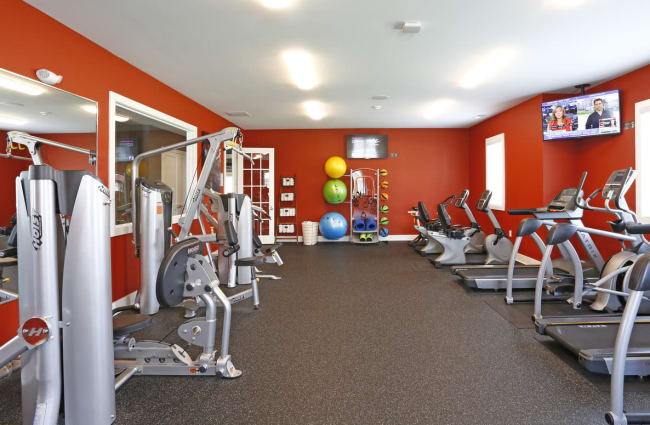 Well-equipped onsite fitness center at Bonterra Apartments in Fort Wayne, Indiana