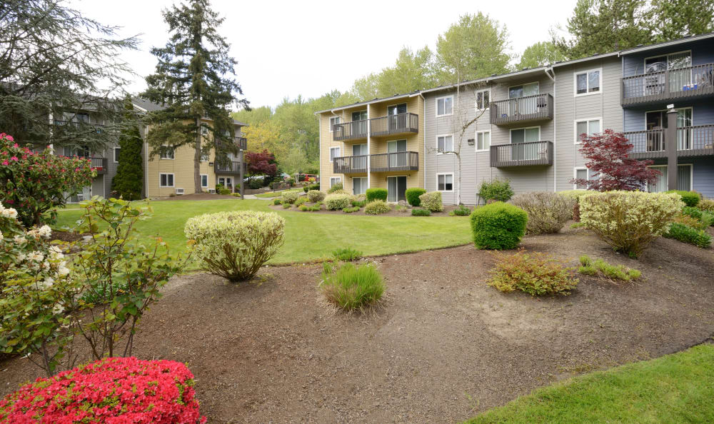 Beautiful landscaping at The Boulevard at South Station Apartment Homes in Tukwila, Washington
