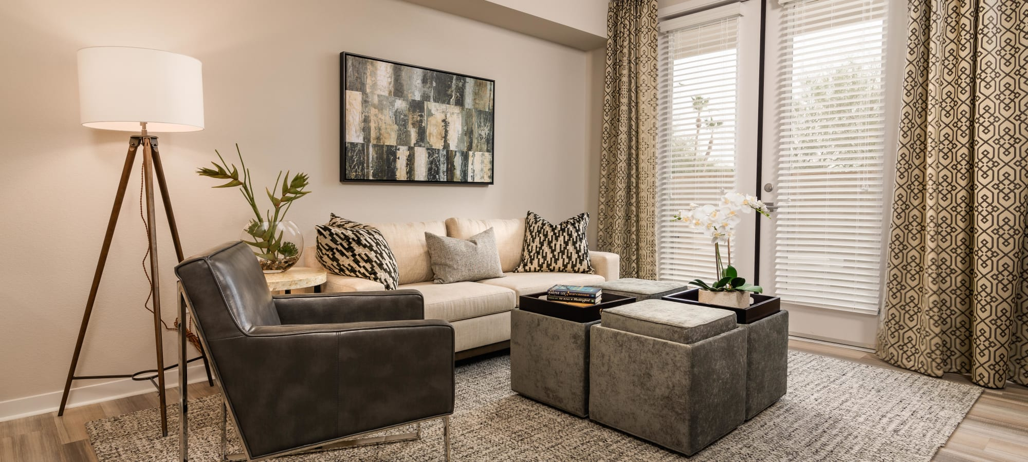 Spacious living room in model home at Morrison Chandler in Chandler, Arizona