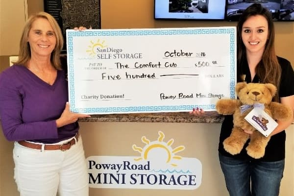Learn more about Poway Road Mini Storage's charitable contributions in Poway, California