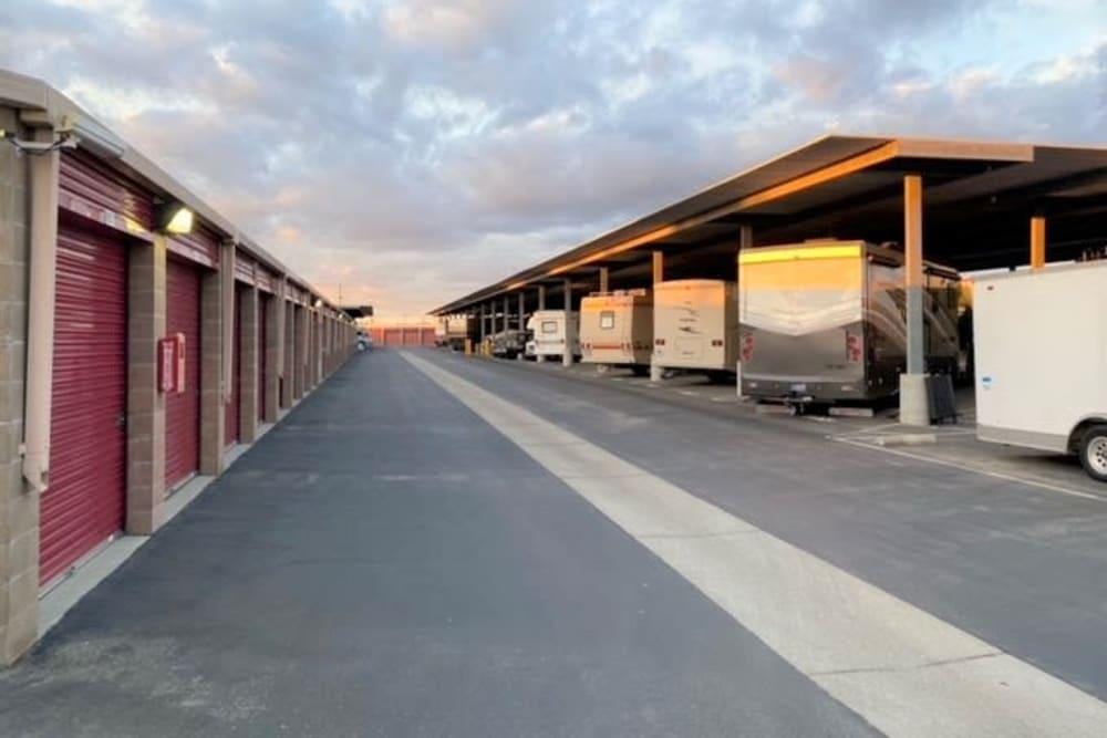 Large driveway and outdoor units at Trojan Storage in Salinas, California