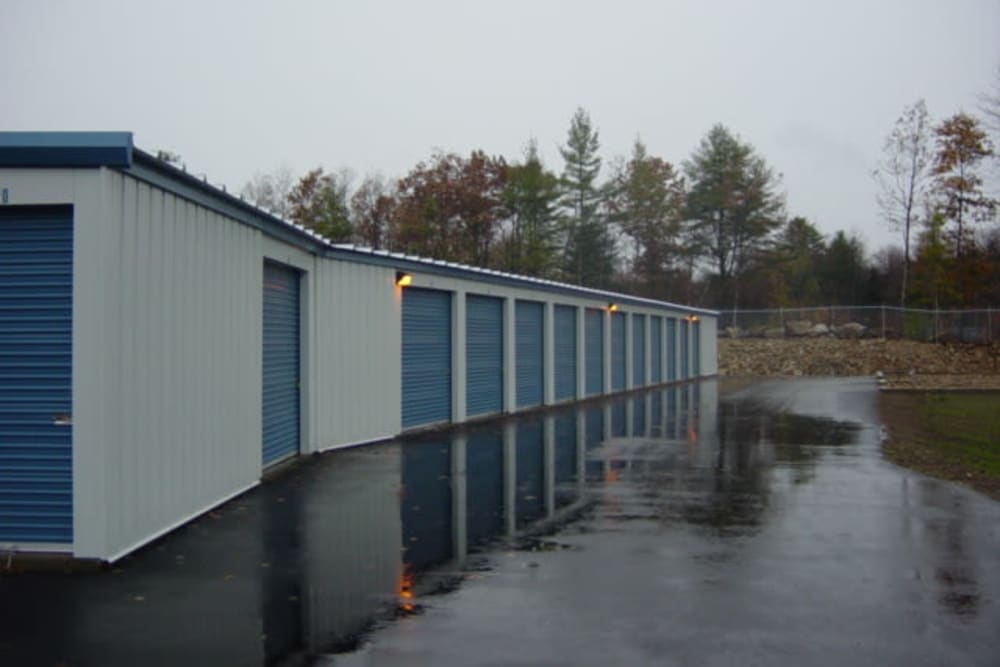 Well-lit self storage units at Safe Storage in Springvale, Maine