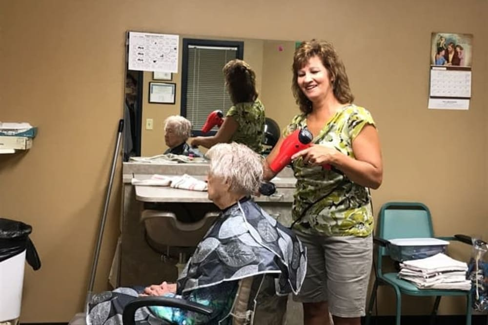 Resident hair salon at Lawton Senior Living in Lawton, Iowa.