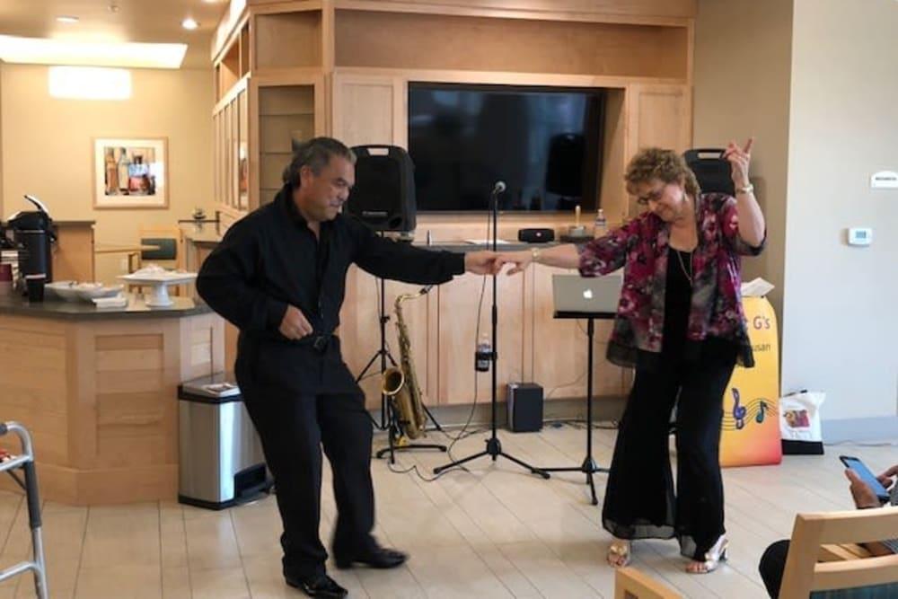 Dancing near Merrill Gardens at Rockridge in Oakland, California.