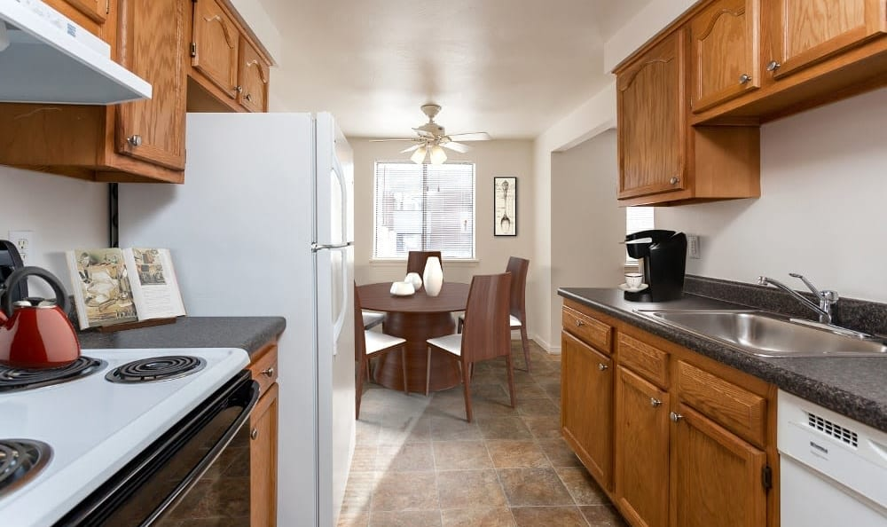 Well-equipped kitchen at East Ridge Manor Apartments in Rochester, NY