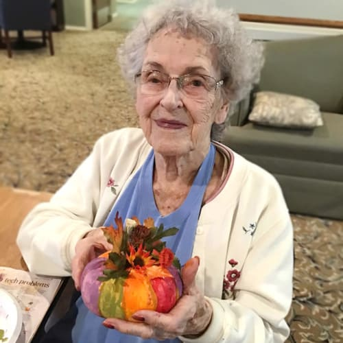 Resident and team member at Canoe Brook Assisted Living & Memory Care in Catoosa, Oklahoma