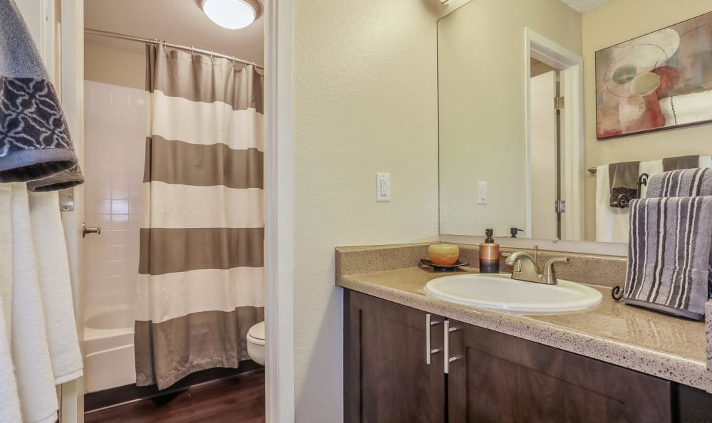 Brown Bathroom at City Center Station Apartments