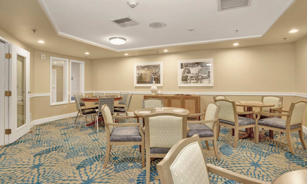 Cards room at Island House Assisted Living in Mercer Island, Washington