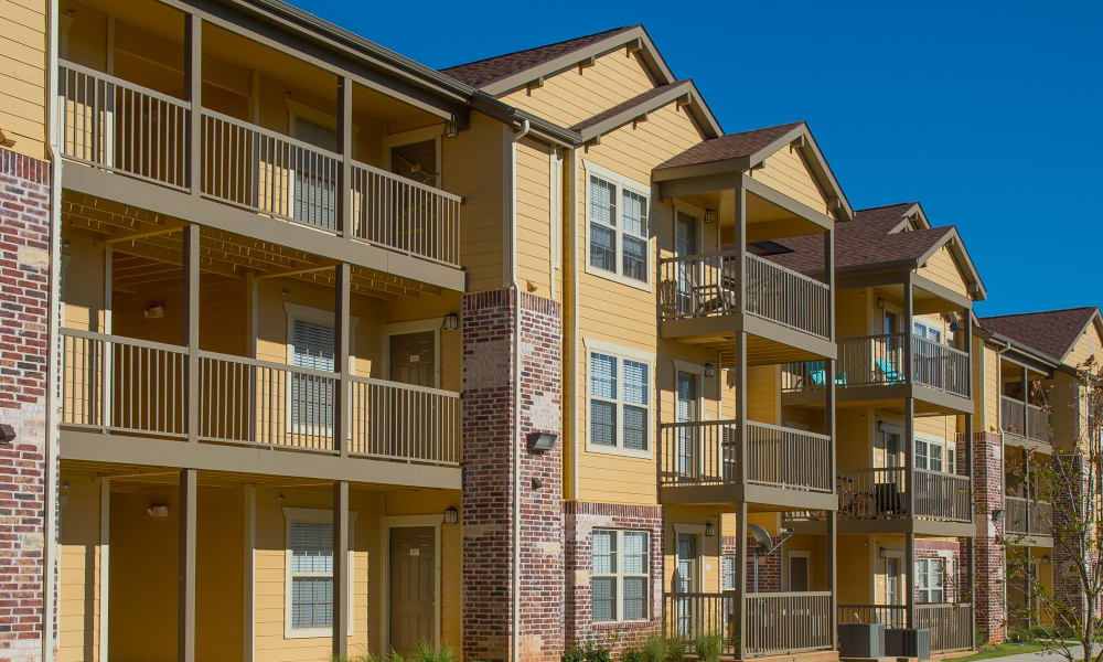 Apartment buildings at Mission Point Apartments in Moore, Oklahoma