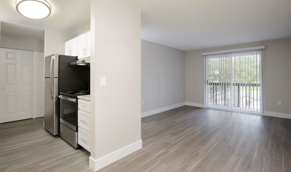 Open floor plan at  The Boulevard at South Station Apartment Homes in Tukwila, Washington