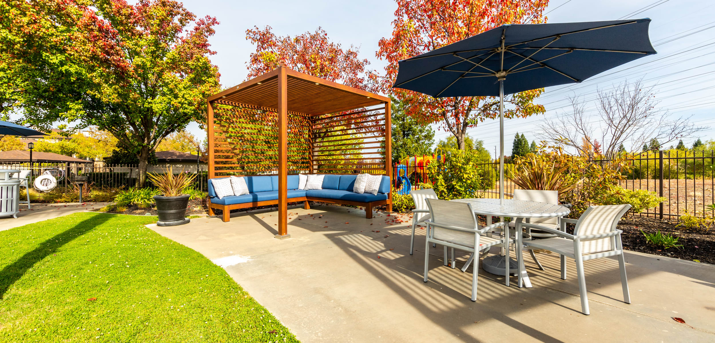 Outdoor pool lounge area at The Fairmont at Willow Creek in Folsom California,