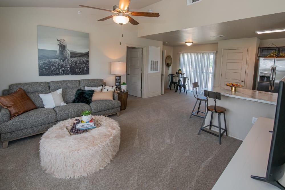 Open floor plan loft apartment at Cottages at Crestview in Wichita, Kansas